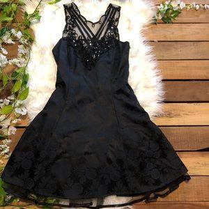 Vintage 80's Roberta Black Floral Printed Dress